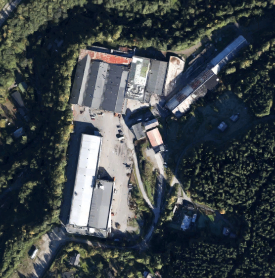 Satellite photo of Moelv Næringspark AS and nearby area